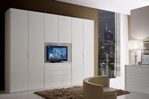 Art. 16CA153 Laccato Opaco Bianco Con Elemento Centrale Porta TV
