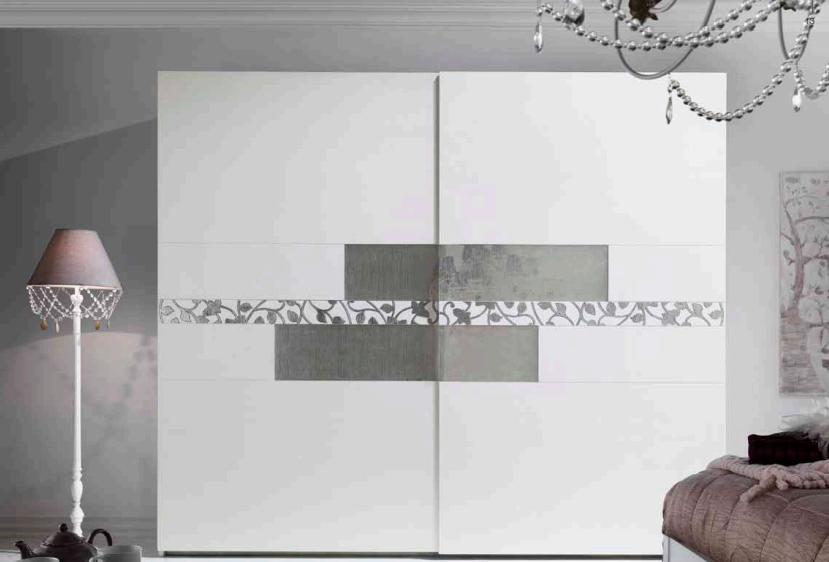 Art.10PI157 Armadio Scorrevole Finitura Bianco, Specchi Cannes, Decoro Foglia Argento