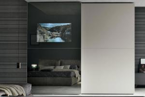 Art. 129T166 Armadio Scorrevole Anta TV Specchio Stop-Sol Brunito e Materico Madreperla Liscio Opaco